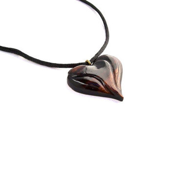 Wood Necklace, Wooden Heart Necklace, Wood Jewelry, Wooden Pendant, Wood Heart Pendant, Wood Heart Carved Pendant, Hand Carved Wooden Heart