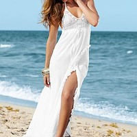 White (WH) Crochet Halter Maxi Dress