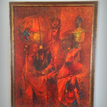 VINTAGE MID CENTURY Artwork - Abstract Framed Print - Orange Chinese Emperor Oil Painting Print - Fabulous Bohemian Style Home Decor - Asia