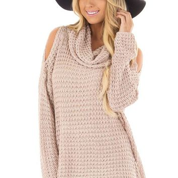 Dusty Pink Open Knit Cold Shoulder Cowl Neck Sweater