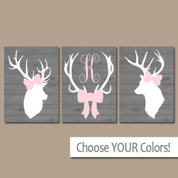 GIRL DEER Wall Art, Girl Deer Nursery, Canvas or Prints, Pink Gray Nursery Decor, Deer Head Antler, Deer Monogram Bow, Baby Shower Set of 3
