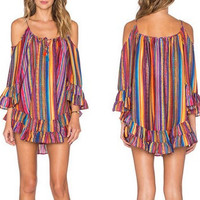 Fashion Rainbow Stripe Print Hollow Long Sleeve Strap Frills Mini Dress