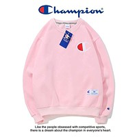 Champion winter tide brand couple casual round neck classic embroidered letter sweater pink