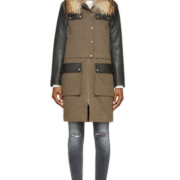 Army By Yves Salomon Black Leather And Fur-trimmed Parka