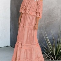 Chic Pink Flower Child Off The Shoulder Lace Maxi Dress