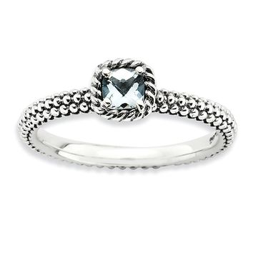 Antiqued Sterling Silver Stackable Aquamarine Ring