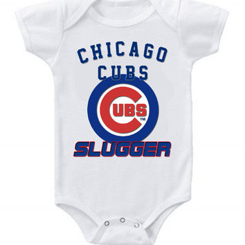New Cute Funny Baby One Piece Bodysuit Baseball Slugger MLB Chicago Cubs #2