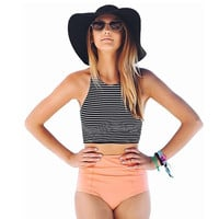 Two Piece Striped Vest High Waist Bikini Swimsuit