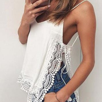 White V-Neck Spaghetti Strap Lace Trim Cami