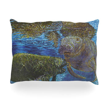 "David Joyner ""Manatees"" Blue Green Oblong Pillow"