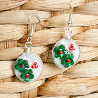 Green Holly Earrings, Christmas Jewelry, Resin Jewelry