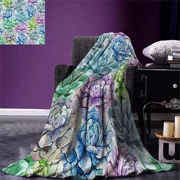 Soothing Soft Colorful Cactus Print Blanket