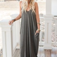 Perfection Pocket Maxi Dress - Charcoal