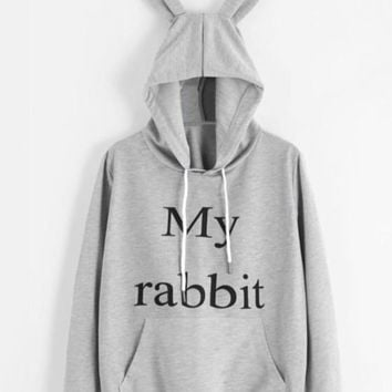 Grey Rabbit Ears Pockets Drawstring Long Sleeve Oversize Cute Hooded Sweatshirt