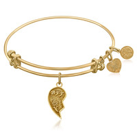 Expandable Bangle in Yellow Tone Brass with Best Friends Forever Symbol