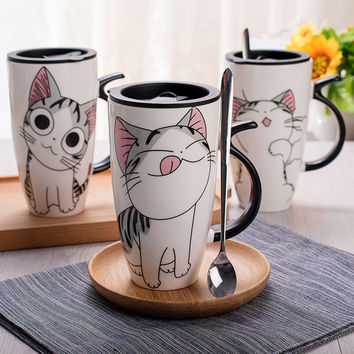 Cute Cat Style Ceramic Mugs with Lid & Spoon Cartoon Creative Moring Mug Milk Coffee Tea Unique Porcelain Mugs 600ml SH209A
