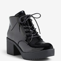 Shiny Lace-Up Bootie