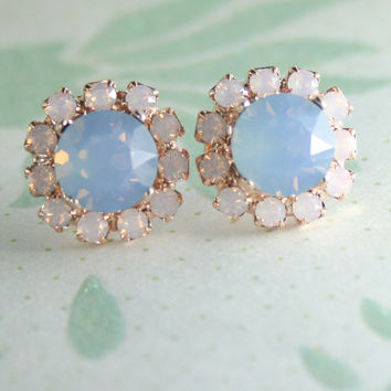 Blue opal crystal earrings,blue and pink earrings,pastel pink and blue earrings,pastel wedding,pink opal earrings,light blue crystal earring