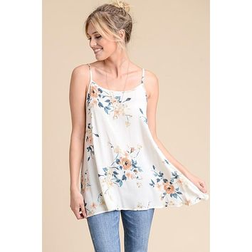 The Jessie Open Back Floral Top - Ivory