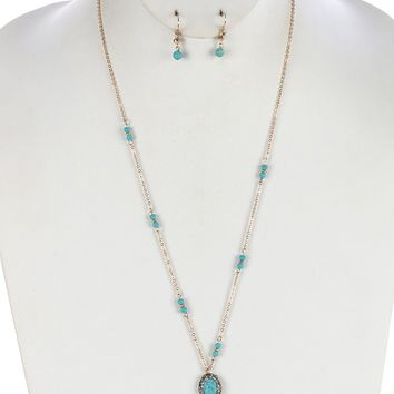 Semi Precious Stone Functional Long Chain Eye Glasses Holder Id Holder  Ring Necklace Earring Set