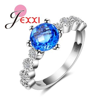 JEXXI Elegant Delicate Narrow Blossom Ring for Women Girls Engagement Jewelry 6 Claw Round Blue CZ 925 Silver Ring Hot Sell