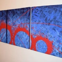 """ARTFINDER: triptych 3 panel wall art colorful images """"Blue Matter"""" 3 panel canvas wall abstract canvas pop abstraction 48 x 20 """" other sizes available by Stuart Wright - """"Blue Matter""""  3 piece canvas art On 3 canva..."""
