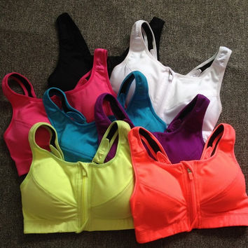 Professional Vest Shockproof Zippers With Steel Wire Underwear Sports Bra [10195892108]