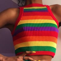 New sleeveless colorful striped midriff-baring knitwear