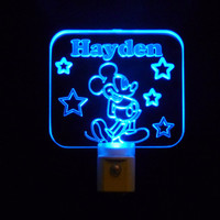 Personalized kids Mickey Mouse Disney Custom Night Light with Colored LED Lights