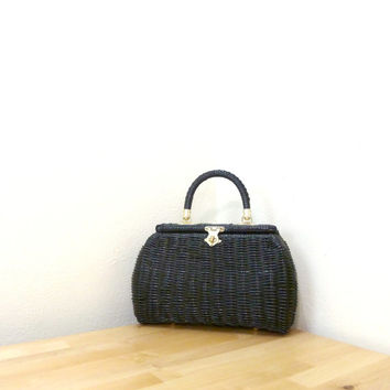 Vintage Woven Handbag / Small Barrel Purse / Black Rattan Handbag / Wicker Purse / Basket Weave Purse / Box Purse