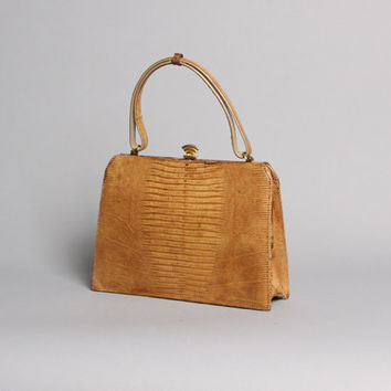 60s Genuine LIZARD PURSE / Palizzio Golden Tan reptile Handbag