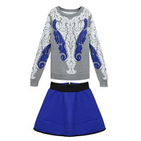 Women 2 Pieces Set Knitting Sweater and Short Skirt Floral Print Casual Style = 1667704004