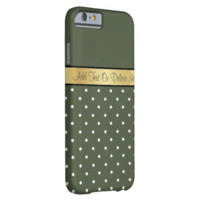 Gold Monogram Elegant Olive Green White Polka Dots iPhone 6 Case