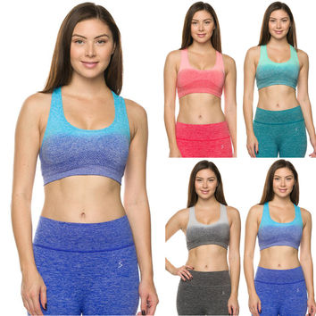 Premium Seamless Activewear Ombre Padded Yoga Workout Sports Padded Bra