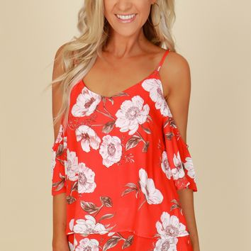 Cold Shoulder Floral Tank Red