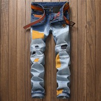 Men Stylish Ripped Holes Pants Jeans [10766090371]