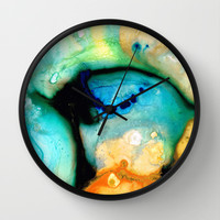 Colorful Abstract Art - The Calling - By Sharon Cummings Wall Clock by Sharon Cummings