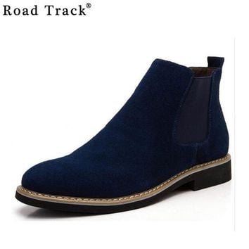 Road Track Chelsea Boot Men Suede Hombre Martin Boots Low Heel Leather Ankle Boots Vintage Sewing Thread