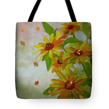 "Yellow Daisy Flowers Tote Bag 18"" x 18"""