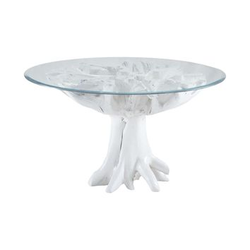 White Teak Root Entry Table Gloss White