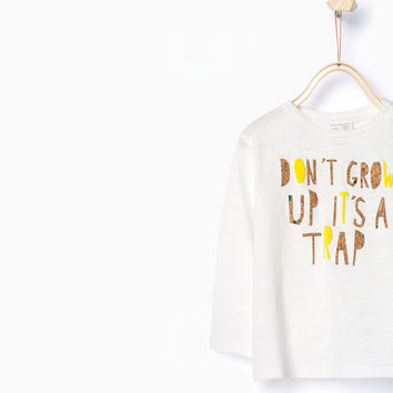 CORK AND TEXT PRINT TOP