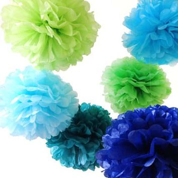 8 Tissue Paper Pom Pom Ready To Ship Package   Shades of Blue & Green   Wedding Party Decor