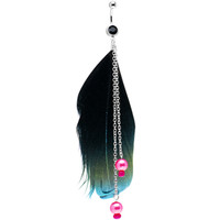 Pink Metallic Pearl Chain Dangle Feather Belly Ring | Body Candy Body Jewelry