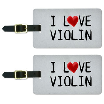I Love Violin Written on Paper Luggage Tag Set