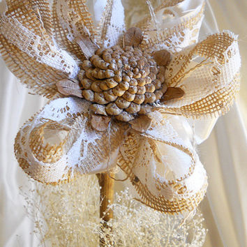 "1 Large 17"" Tall Burlap Pinecone Daisy Flower Stem for weddings, table decor, centerpieces. Burlap, lace, pine cones and natural twig stem."