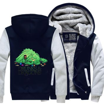 Drunk Dragon, Dragon And Dungeon Fleece Jacket