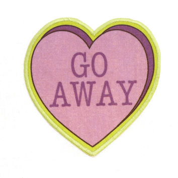 Go Away Insultation Heart Iron On Patch