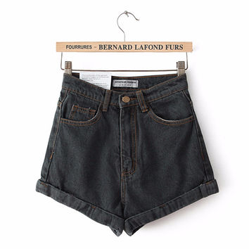 Women Jean Shorts 2016 New Brand Summer Style Solid Elastic Plus Size High Waisted Shorts White Blue Black Shorts For Women