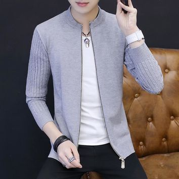 2017 New Style Autumn Teenage Boy Casual Cardigan Slim Men Sweater Solid 5 Color Jacket Male Clothing Zipper Fashion Outerwear