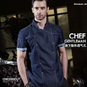 Trendy Hot 2017 summer fashion short sleeve blue denim chef jacket quality and durable hotel kitchen cook clothes for men AT_94_13